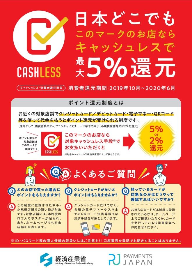 10月1日よりキャッシュレスがお得!キャッシュレス・消費者還元事業始まります。